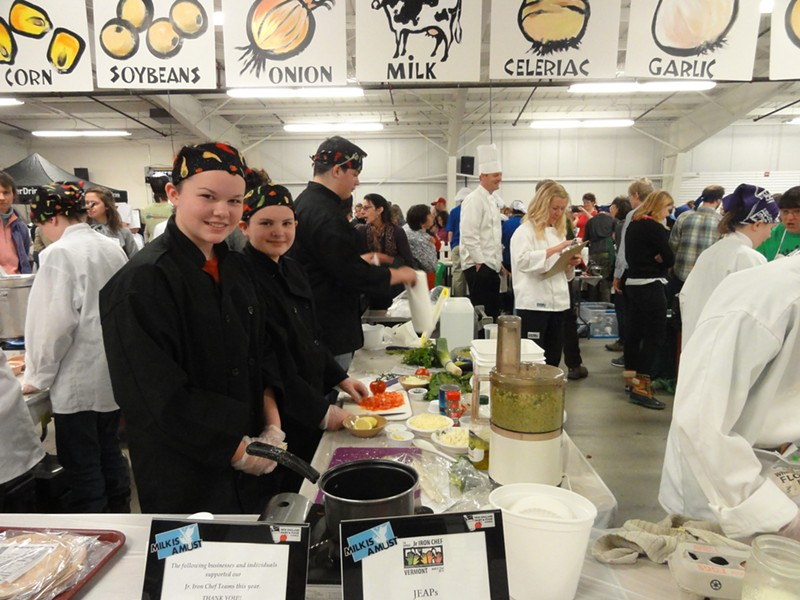 Mount Abraham Union Middle-High School students Emily Aldrich, Ashley Aldrich and Peter Koenig work on their recipe. - ANA RUESINK