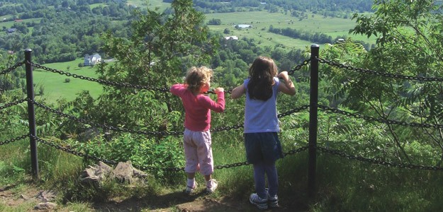 Nola and Lily Roberts on top of Mount Philo.