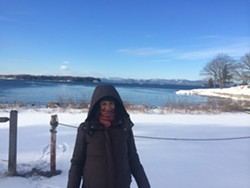 Jessica in front of Lake Champlain, adjusting to the cold