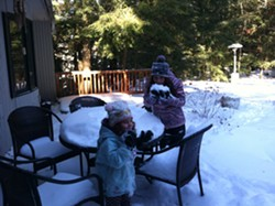 Kaya and Dahlia getting a taste of snow