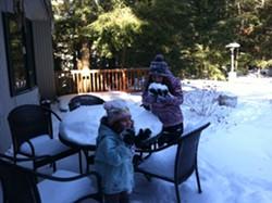 Kaya and Dahlia getting a taste of snow