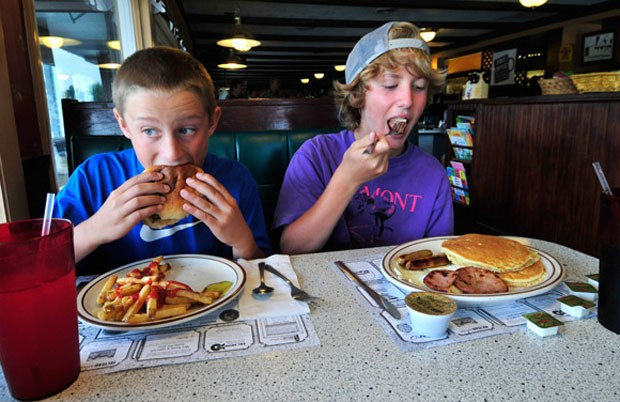 Reed Browning and Aidan Casner enjoy lunch at the Wayside.