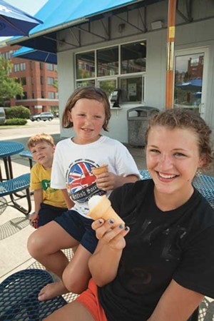MATTHEW THORSEN - Rue and Sophie Brown and Jill Rathke enjoy cremees at Burlington Bay Market & Café