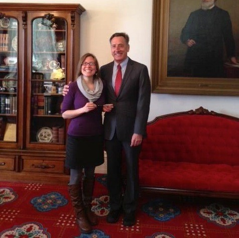 Stephanie Atwood, left, with Gov. Peter Shumlin