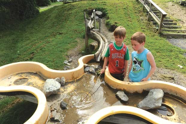 Stormwater flows through natural pipes to a pool