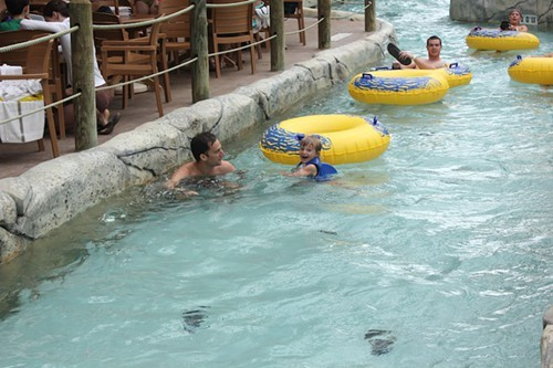 Theo and Jeff Novak in the Lazy River