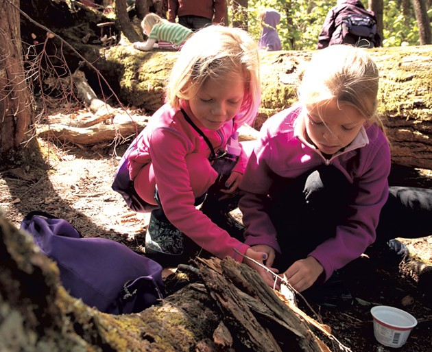 Sisters work together to build a fairy house - MATTHEW THORSEN