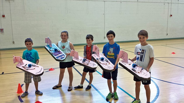 Students in Bob Gurwicz's weeklong camp display their hovercrafts - SHELBURNE PARKS & RECREATION
