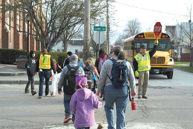 Students walk to St. Albans City School - COURTESY OF SAFE ROUTES TO SCHOOL