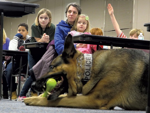 K9 Capone, a 9-year-old drug-sniffing patrol dog, has been with the Burlington Police Department since 2008 and is one of its most effective community ambassadors.