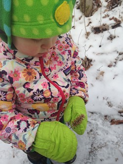 Elise checks out a flower on the side of the trail - SARAH GALBRAITH