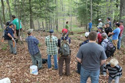 25 mountain bikers, including a few kids, spent the weekend learning about sustainable trail construction - SARAH GALBRAITH