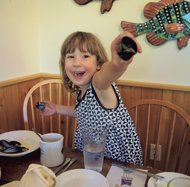 Mila showing off her mussels - MEREDITH COEYMAN