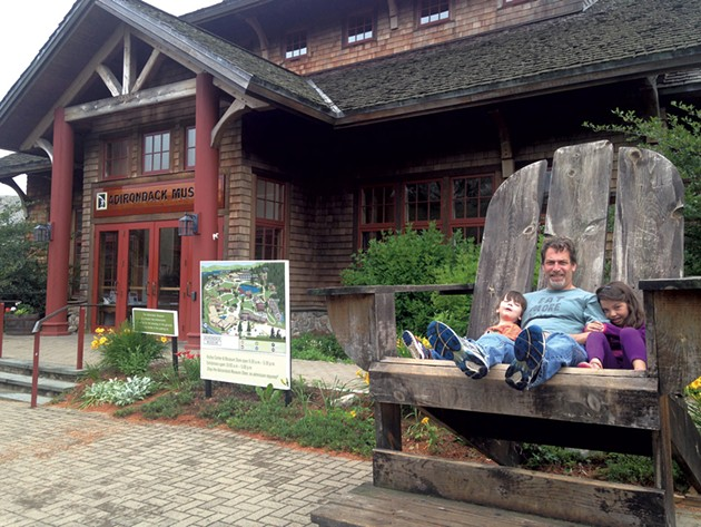 Picard with Ezra and Manya outside the Adirondack Museum