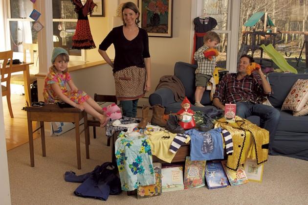 The Novak family with thrifty purchases in a photo shoot from the April 2013 Money Issue