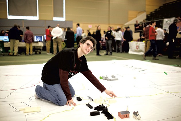 Brandon Levesque from Rutland High School at the Olympiad of Architectural History last March - COURTESY OF BEN DEFLORIO