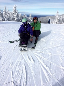 Garrett Richardson with instructor Andy Cook at Bolton Valley - COURTESY OF VALERIE RICHARDSON