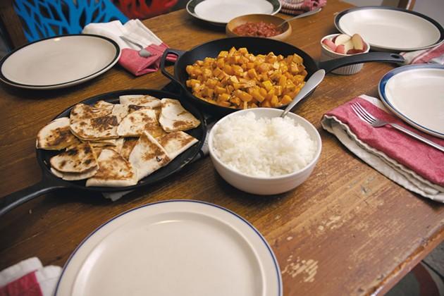 Dinner of roasted veggies and quesadillas - SAM SIMON