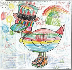 """""""Rainbow Space Duck"""" by Bronwyn Withers, age 5, South Burlington"""