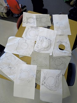 Students' Champ drawings for record-jacket art - MATTHEW THORSEN