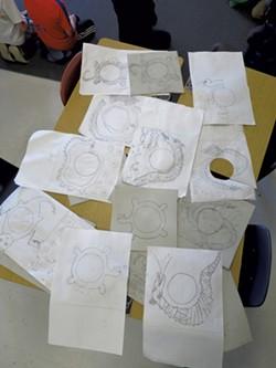 Students' Champ drawings for record-jacket art - MATTHEW THORSEN