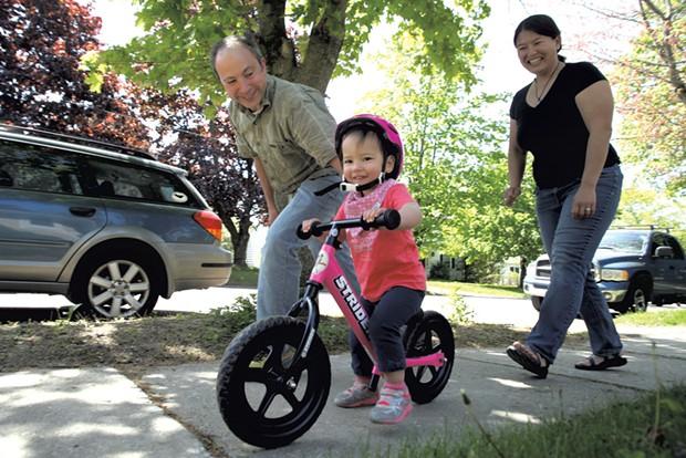 Dad: Josh Blumberg, 42, Director of Academic Technology at Champlain College - Mom: Mieko Ozeki, 37, Program Director at Yestermorrow Design/Build School - Daughter: Naomi, 21 months - MATTHEW THORSEN