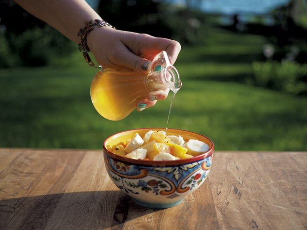 Ginger syrup gives the fruit salad a hint of Jamaican flavor - ANDY BRUMBAUGH