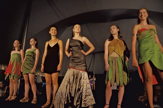 Zoe Crane (third from left) with models wearing her designs in STRUT 2016 - STEPHEN MEASE