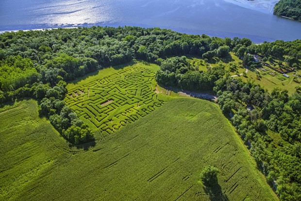 An aerial view of Fort Ticonderoga's corn maze - CARL HEILMAN, II COPYRIGHT FORT TICONDEROGA.