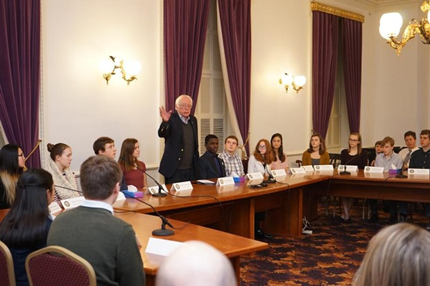 Senator Bernie Sanders at last year's round table discussion for contest finalists