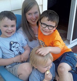 Au pair Sina Marburger with Emily Peters' sons