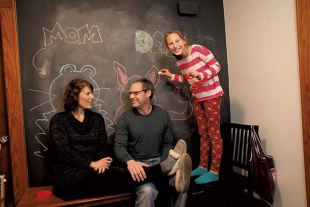 """Mom: Erin Wertlieb, 44, program assistant, University of Vermont Department of Education. Dad: Mitch Wertlieb, 51, """"Morning Edition"""" host, Vermont Public Radio. Daughter: Gretchen, 9. - MATTHEW THORSEN"""