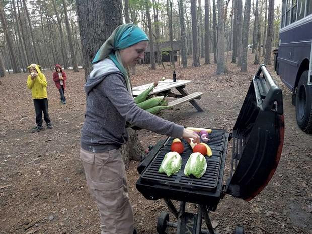 Grace grills veggies for dinner - COURTESY OF GRACE AHMED