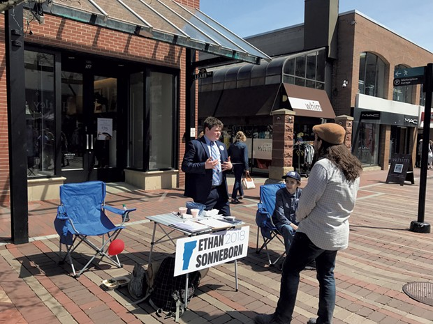 Sonneborn campaigning on Church Street in Burlington - COURTESY OF ETHAN SONNEBORN