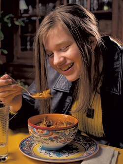 Astrid's daughter Evalina enjoys a bowl of goulash - ANDY BRUMBAUGH