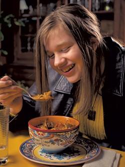 Astrid's daughter Evalina enjoys a bowl of goulash - ANDY BRUMBAUGH