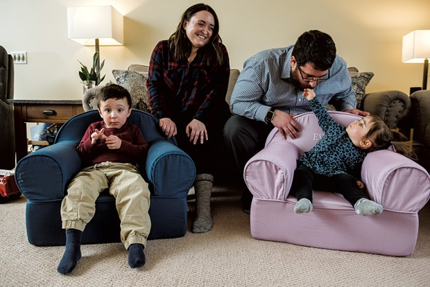 Brittany Willette, 33, and Jeremy Willette, 37, at home with son Henry, 4, and daughter Evelyn, 1 - SAM SIMON