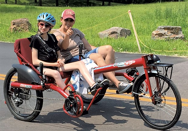Hannah and Shelly on a recumbent bike - COURTESY OF DEBBIE LAMDEN