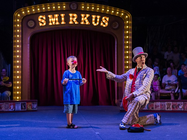 Circus Smirkus artistic director Troy Wunderle with a young audience member during last year's Big Top Tour