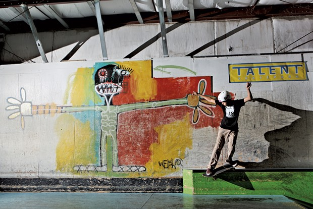 Myles Rossi doing a backside Smith grind at Talent's former South Burlington location - COURTESY OF JOHNATHAN TOWNSEND
