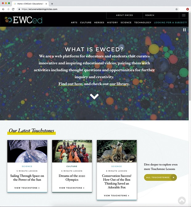 Ever Widening Circles for Education homepage
