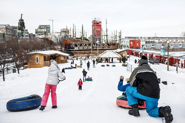 Snow tubing in Montréal's Old Port - COURTESY OF VOILES EN VOILES