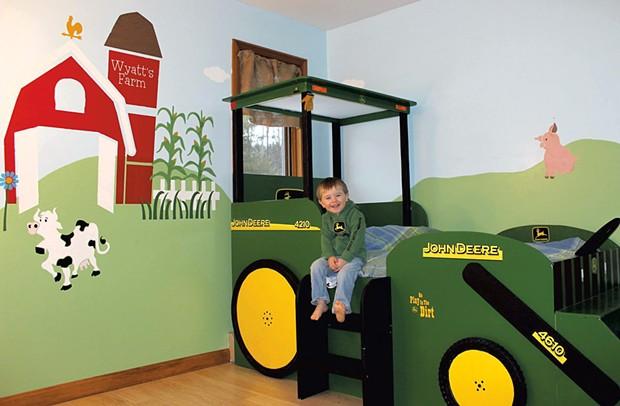 Wyatt Bogie at age 3, when his tractor bed was brand new - COURTESY OF AMANDA GILMAN-BOGIE