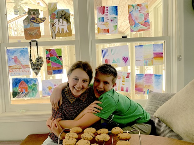 Mira and Theo with the fruits of their labor - ALISON NOVAK
