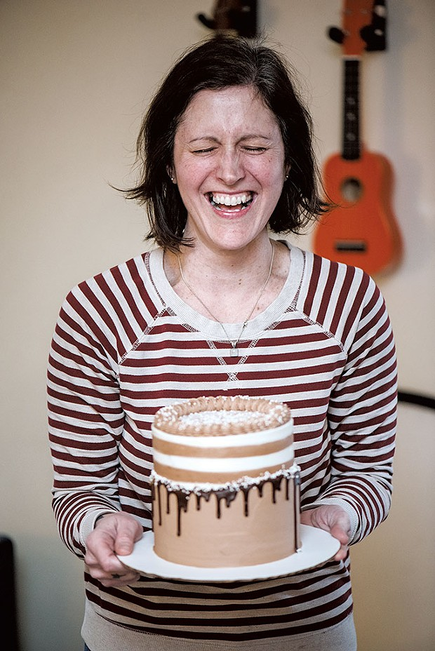 Erinn with a cake she made for daughter Sadie - SAM SIMON
