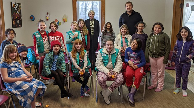 Girl Scout Troop 52005 interviewing South Burlington City Councilor Tom Chittenden and Rep. Ann Pugh
