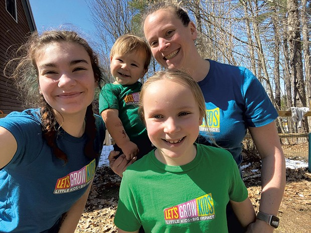 Amaryah Pendlebury (top right) with teacher Brooke (left), her daughter (center) and a child in her home-based childcare center, Brattleboro's Natural Child School - COURTESY OF AMARYAH PENDLEBURY