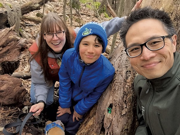 Heather with husband Ben and son Jesse in Burlington's Arms Forest - COURTESY OF BEN WANG