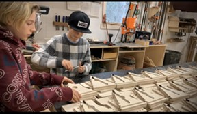 Pomerantz's sons assemble birdhouse kits - COURTESY OF PETER POMERANTZ
