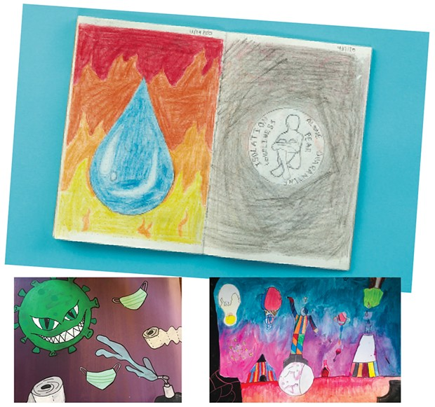 "Clockwise from top : Drawing by Ana S. of Burlington High School; ""Circus"" by Xavier P. of Winooski Middle School; toilet paper coronavirus art by Mirium R. of Edmunds Middle School"